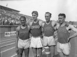 Close-up of Ralph Metcalfe, Jack Keller, George Saling and Glenn Cunningham at NCAA meet, 1932