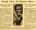 Newsclipping about Ralph Metcalfe receiving All-American Honors, 1933