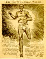 Newspaper cartoon of The World's Fastest Human, 1933