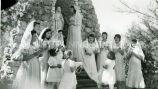 May crowning by students at shrine of Saint Mary, 1 of 2, 1948