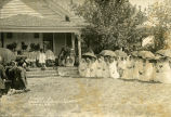 Catholic Sioux Congress attendees at rectory, 1 of 2, 1910