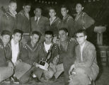 Coach Clifford and boys' basketball team, 1955