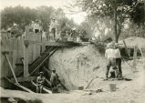 Workers constructing a dam on White Clay Creek, 2 of 2, 1938