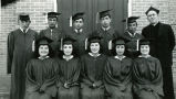 High school graduates with Father Edwards, S.J., 1949