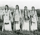 Girls in beaded buckskin dresses, n.d.