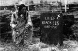 Ben Black Elk at Black Elk's grave, undated