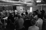 Mass at dedication of new church building, 1980