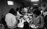 Meal at dedication of new church building, 1980