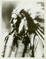 Chief American Horse wearing bone breastplate necklace, beaded vest, and war bonnet, n.d.