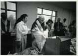 Father Kolvenbach, S.J., gifted with star quilt, 1993