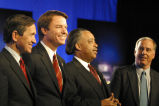 Dennis Kucinich, John Edwards, Al Sharpton and Howard Dean after the Democratic Presidential...