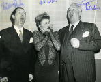 Hildegarde poses with Milton Berle and Lauritz Melchior, 1946