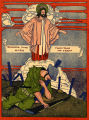 Color plate of depicting dying soldier and Christ, 1919