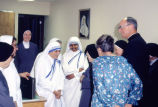 Mother Teresa and her travel companion, Sister Fatima, visit at the St. Joan Antida convent, 1981