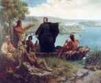 """Father Marquette and the Indians"" painting, 1869"