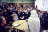 Mother Teresa speaks in the St. Joan Antida library, 1981