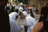 Mother Teresa greets an unidentified nun during her visit to Milwaukee, 1981