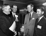 William F. Kelley, S.J., talks with Don McNeill, Arthur Aschauer, and Eugene Purtell, 1965