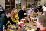 Robert A. Wild, S.J., joins students for lunch, 2002