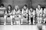 Women's volleyball team on sidelines, 1984