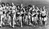 Women's cross-country team amid the pack, 1981