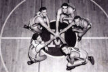 Gene Berce with starting Marquette men's basketball lineup, 1947