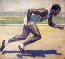 Oil painting of Ralph H. Metcalfe running, 1934