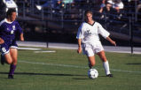 Kelly (Roethe) Hodges dribbles the ball, 1996? - 1999?