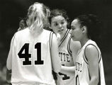 Abbie Willenborg talks to teammates, 1998