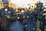 2002-2003 men's basketball team leave after pep rally celebrating their spot in the final four,...