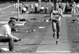 Clare Look-Jaeger sprints prior to jumping, 1987
