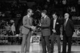 Keith Hanson accepts award for 1986 NCAA Cross Country championship, 1981