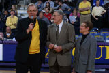 Robert A, Wild, S.J., speaking at half-time event honoring Hank Raymonds, 2003