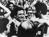 Al McGuire and Maurice (Bo) Ellis celebrate after NCAA Championships, 1977
