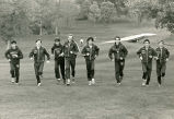 Keith Hanson and the men's cross-country team running, 1983-1985