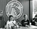 Keith Hanson and Tim Hacker at a press conference for the NCAA National cross-country...