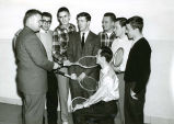Chas Mulcahy with tennis teammates, 1956