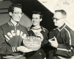 Don Gehrmann, Bob Allen, and Coach Shimek, 1953