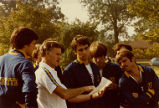 Jim Allen delivers instructions to cross-country team, 1979