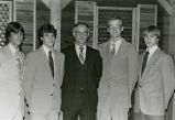 Dave Uhrich, Mike Simmons, Jim Allen, Keith Hanson and James Orthmann at awards banquet, 1983