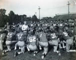 Frank J. Murray speaking to the Marquette football team, 1949