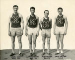 "John ""Big Train"" Sisk, Sr. with the track relay team, 1930"