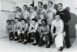 Wrestling team group photograph with Harlow Hellstrom, 1952