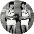 Brothers Gene and Floyd Ronzani pose with basketball, 1932