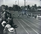 Marquette sprinter Ralph Metcalfe wins sprint at Marquette Stadium, 1934?