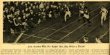 Newsclipping featuring photograph of Ralph Metcalfe winning 40-yard dash, 1933