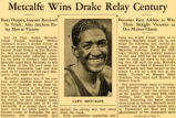 Newspaper clipping about Ralph Metcalfe's victory at Drake Relays, 1934