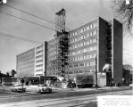 East facade, Schroeder Hall, as the building nears completion, 1957