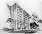 Pencil drawing showing the east facade of Cobeen Hall