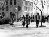Students gather on the sidewalks between Lalumiere Hall and the Todd Wehr Chemistry Building, 1978